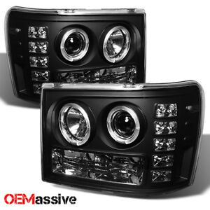 Fits 07 13 Gmc Sierra 1500 2500 3500 Black Dual Halo Led Projector Headlights