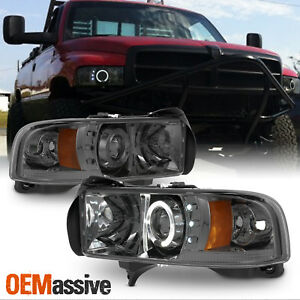 Fits 94 01 Dodge Ram 1500 2500 3500 Smoked Dual Halo Led Projector Headlights