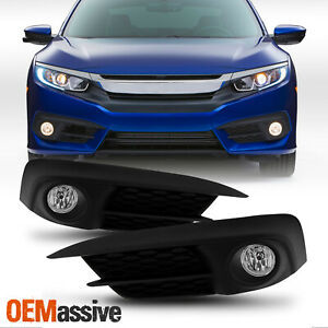 Fit 2016 2018 Honda Civic 2dr Coupe 4dr Sedan Bumper Glass Fog Lights W switch