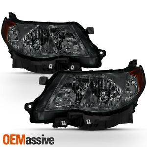 Fit 2009 2013 Subaru Forester Smoked Halogen Headlights Complete Replacement Set