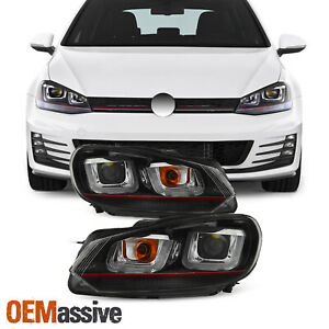 Fits red Stripe Edition 10 14 Vw Golf Gti Black Led Tube Projector Headlights