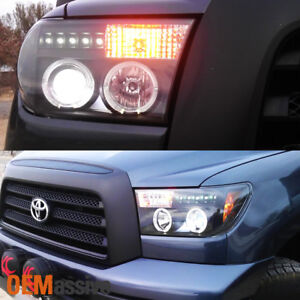 Fits 2007 2013 Tundra 08 Sequoia Black Halo Projector Led Headlights Lh Rh Sets