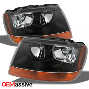 Fit 99 04 Jeep Grand Cherokee Replacement Black Headlights Amber Headlamps