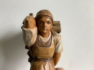 Vintage Brienz Swiss Carved Wood Figure Woman Carrying Wood Bundle Subtle Paint