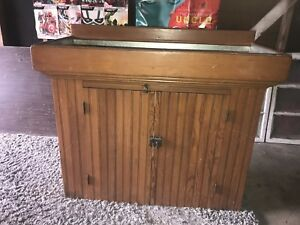 Antique Primitive Country Wainscoting Pine Dry Sink Bar Kitchen Island