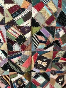 Exceptional 1884 Crazy Quilt Top Ribbon Work Painted Embroidery Butterflies