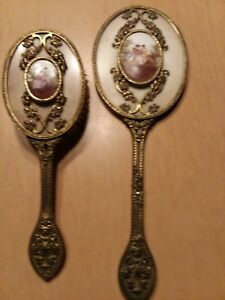 Antique Victorian Mirror And Brush Set