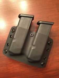 Black Kydex dual magazine pouch holster (OWB) for Glock 191726
