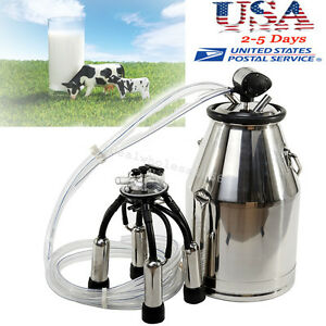 Usa Portable Dairy Cow Milker Machine Stainless Steel Bucket Tank 25l Barrel
