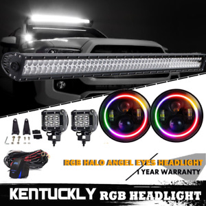 52 Led Light Bar 4 Pods wire 7 Round Cree Dual Led Headlight Hi Lo Beam
