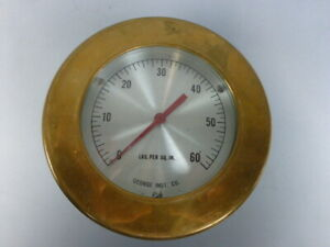 George Instrument 0 60 Psi Brass Pressure Gauge Retro Vintage Steampunk N