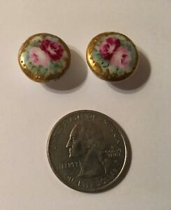Antique Pair Hand Painted Ceramic Buttons Round Roses Camellia Gold Rimmed