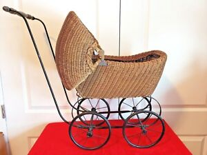 Vintage Early 1900 S Baby Doll Pram Carriage Good Condition Plus Free Doll