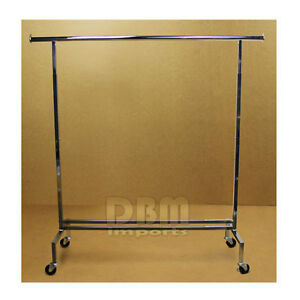 Single Bar Adjustable Clothes Rack Garment Retail Display Hanger Wheels 81 H