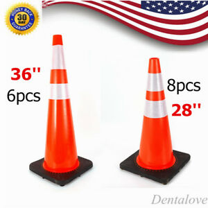 28 36 Traffic Cones Safety Cone Barrier Car Parking Reflective Collar Strip