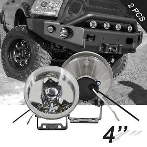 4in Round Off Road Clear Lens Work Fog Lights W H3 Bulbs Mounting Brackets 2pcs