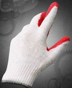 70 Pairs Latex Rubber Coated Fingers Palm Red Work Gloves Mens M Medium Grip