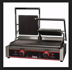Winco Double Commercial 120v Panini Press With Cast Iron Grooved Plates Epg 2