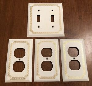 Mid Century Hollywood Regency Metal Outlet Lightswitch Cover White Gold Vintage