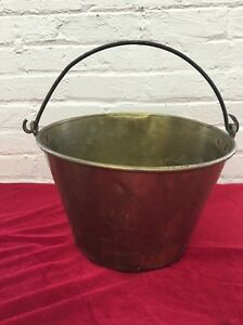 Antique Haydens Style Brass Bucket Milk Fire Handle