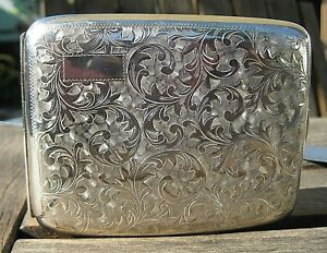 Vintage Sterling Silver Hand Chased Scrolls Japan Cigarette Case Clean No Mono