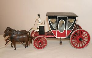 Antique 1800 S Handmade Wood Folk Art Horse Drawn Carriage Stagecoach Sculpture