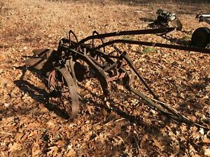 Vintage Antique Farmall 2 Bottom Plow Tow Behind With Steel Wheels