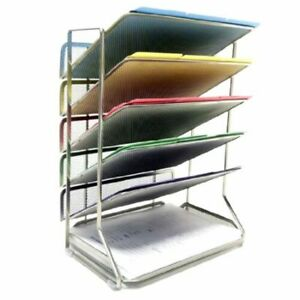 Office Mech Storage Organizer Shelves Document Desk File Letter Wall Home 6 Tray