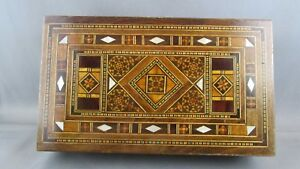 Authentic Orient Syrian Mosaic Inlay Wood Trinket Jewelry Box Antique