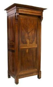 Tall French Louis Philippe Mahogany Bonnetiere Armoire 19th Century 1800s