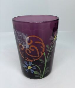 Antique Amethyst Glass Tumbler With Enamelled Flowers