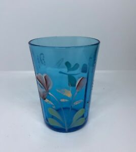 Antique Blue Glass Tumbler With Enamelled Flowers