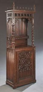 French Carved Oak Gothic Style Cupboard Or Display 19th Century 1800s