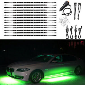 14pcs Green 12 Strip Led Lights Underglow Car Truck Under Body Neon Accent Glow