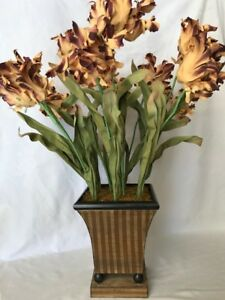 Extra Large French Style Hand Painted Tole Planter W Silk Parrot Tulips Floral