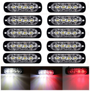 10x 4led Car Truck Emergency Hazard Warn Beacon Grill Strobe Light Bar Red White