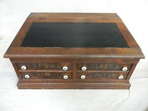 Clark S Thread Spool Cabinet Wood 4 Drawer Vintage Antique General Store