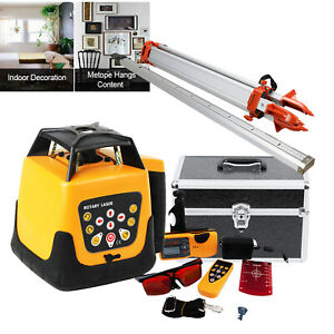 Automatic Self leveling Rotary Laser Level Red Beam Remote Control Staff Tripod