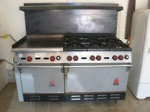1974 Wolf Commercial Double Oven Range Stove Lg Grille Six Burners