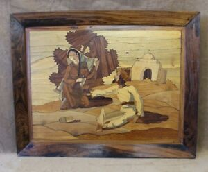Antique Marquetry Wood Inlay Picture Lovers Art On Wood