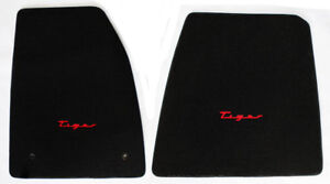 New Sunbeam Tiger Embroidered Logo In Red Floor Mats Black Pair Set Of 2
