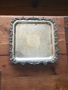 Jml Epca Silverplate By Poole 812 Square Tray On Four Legs With Engraving