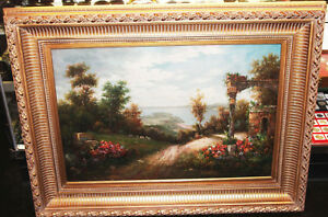Vintage Oil Painting W Gold Gilt Ornate Wood Picture Frame Large 48 X 36 Torrens