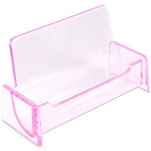 1pc Hq Acrylic Plastic Business Name Card Holder Display Stand clear Pink