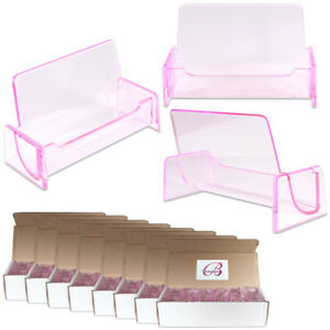 100pc Hq Acrylic Plastic Business Name Card Holder Display Stand clear Pink