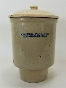 Vintage Crock Water Dispenser Crystal Filter Company Los Angeles Ca