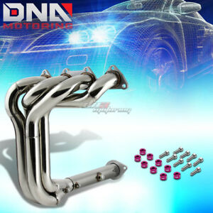 J2 For B16 B18 Dohc Exhaust Manifold 4 1 Tri Y Header Purple Washer Cup Bolts