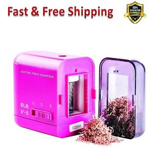 Electric Pencil Sharpener Kids Pink Works With Ac Adapter Usb Battery Powered Us