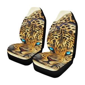 Custom Leopard Car Seat Covers Front Seats Protector Cushions Set Of 2