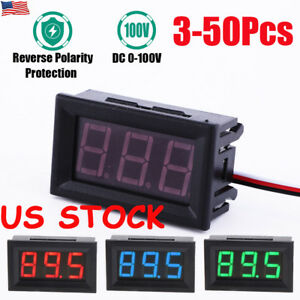 3 50pcs Mini Led Dc 100v Voltmeter Gauge Voltage Volt Panel Meter Display Usa